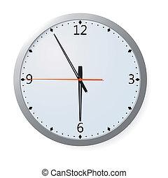 pared, vector, reloj