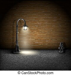 pared, vendimia, ladrillo, streetlamp, fondo.
