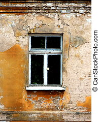 pared, ventana, viejo