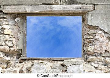 pared, ventana, viejo, piedra