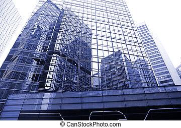 pared vidrio, de, edificio de oficinas