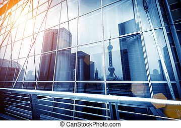 pared, vidrio, proyección, cortina