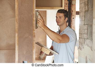 pared, yesero, trabajando