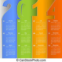 parede, 2014, calendário, limpo, negócio