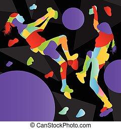 parede, abstratos, ilustração, escalador, silhuetas, fundo, escalar rocha, menina, desporto, atletas, crianças