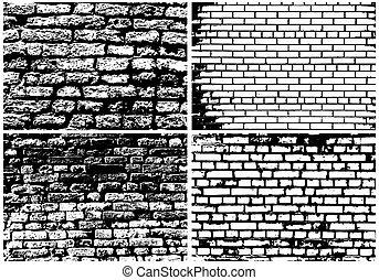 parede, abstratos, jogo, grunge, tijolo
