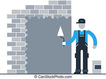 parede, acabamento, trabalhador construção, tijolo