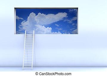 parede, alcance, escada, céu, inclinar-se