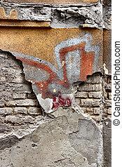 parede, antigas, fundo