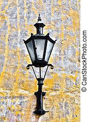 parede, antigas, lanterna
