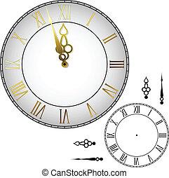 parede, antiquado, relógio