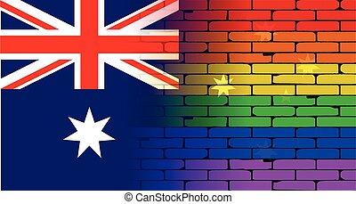 parede, arco íris, bandeira australiana, homossexual