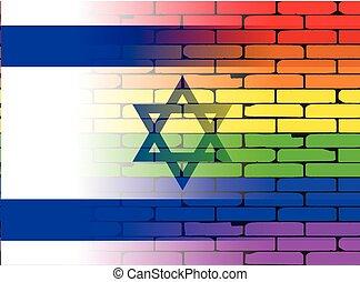 parede, arco íris, bandeira israel, homossexual