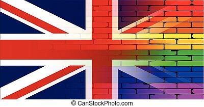 parede, arco íris, macaco, homossexual, união
