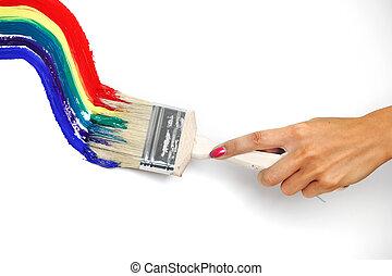 parede, arco íris, pintura branca