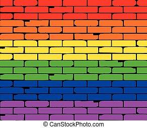 parede, arco íris, transexual