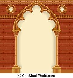 parede, arco, gótico