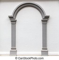 parede, arco, moldagem