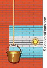 parede, argentina, industrial, bandeira, tijolo