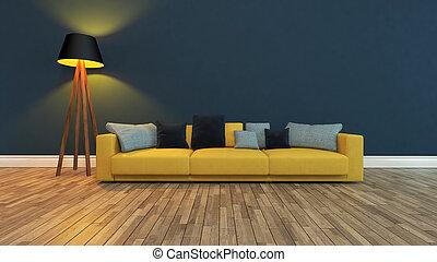 parede azul, assento, escuro, fazendo, frente, 3d