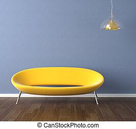 parede azul, sofá amarelo, desenho, interior