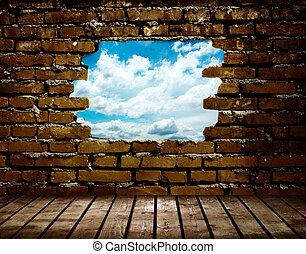parede azul, ver, céu, poroso