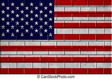 parede, bandeira americana, tijolo, fundo