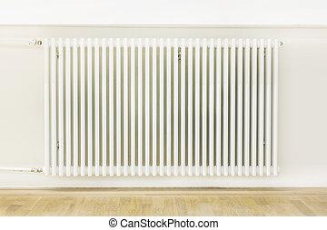 parede, branca, anexado, sistema aquecendo
