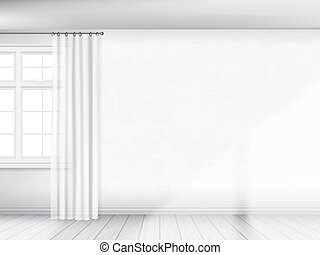 parede branca, com, um, janela, e, cortinas