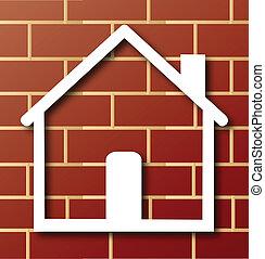 parede, casa, tijolo, ícone, logotipo