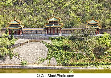 parede,  China, grande, aéreo, vista