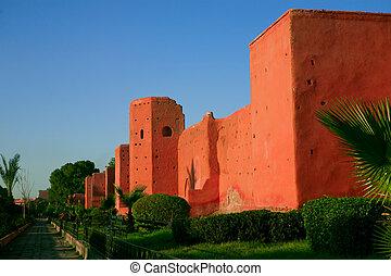 parede, cidade, marrakech, antigas