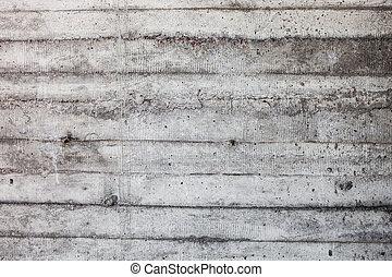 parede, cinzento, concreto, shuttering, endurecido, moldes, rastros