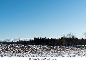 parede, coberto, pedra, neve paisagem