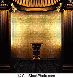 parede, colunas, vetorial, azulejo,  pedestal,  bronze