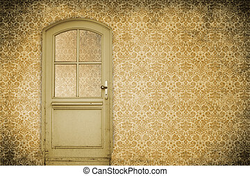 parede, com, antigas, porta