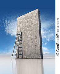 parede, concreto, abstratos, escada