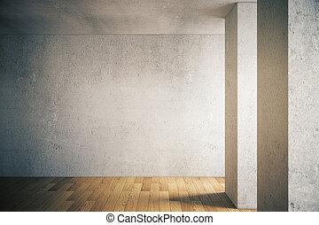 parede, concreto, chão madeira