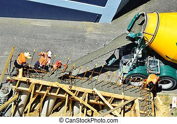 parede, concreto, construtores, despeje, cimento