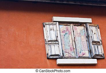 parede, concreto, Janela, antigas, madeira