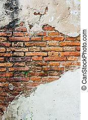 parede, concreto, rachado, vindima