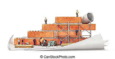 parede, construtores, concept., ilustração, blueprints., processo, construção, parte, ferramentas, tijolo, 3d