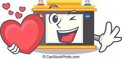 parede, coração, accomulator, varas, caricatura