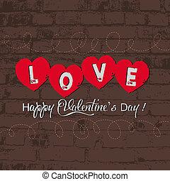 parede, coração, retro, valentine