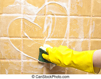 parede, coração, sabonetes