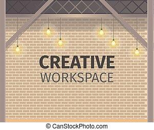 parede, criativo, coworking, workspace., tijolo, bandeira