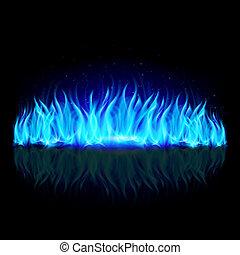 parede, de, azul, fogo, ligado, black.