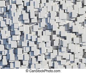 parede, de, branca, cubos
