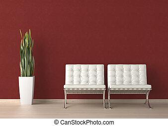 parede, dois, desenho, interior, branca, cadeira, vermelho