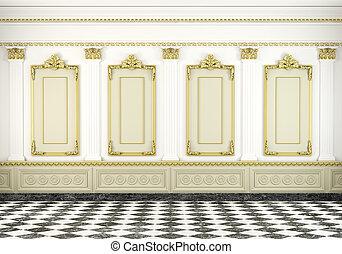 parede, dourado, clássicas, fundo, moldagem